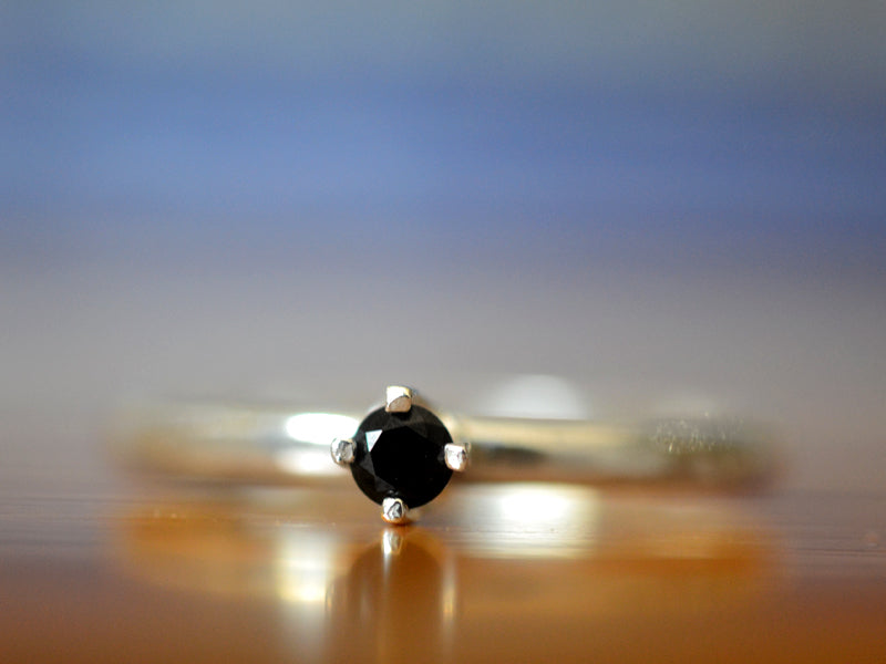 Simple Sterling Silver & 3mm Black Spinel Promise Ring
