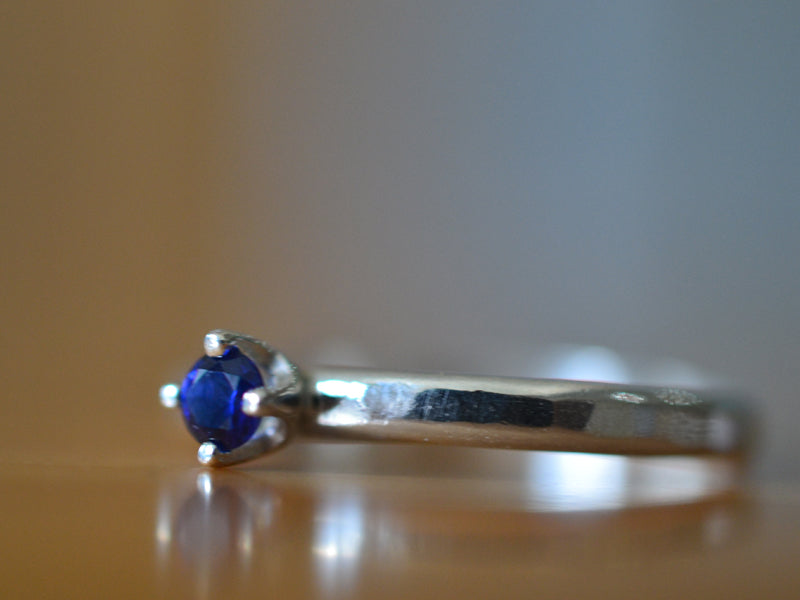 Minimalist Sterling Silver Blue Sapphire Engagement Ring