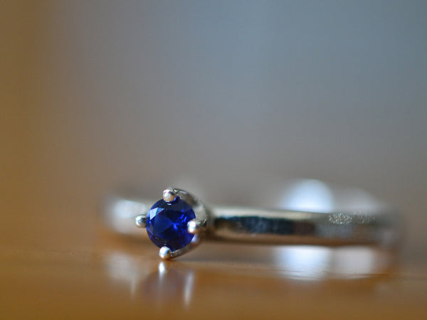 Simple Sterling Silver Tiny Blue Sapphire Stack Ring