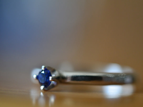 Women's Simple Blue Sapphire Ring with Engraving