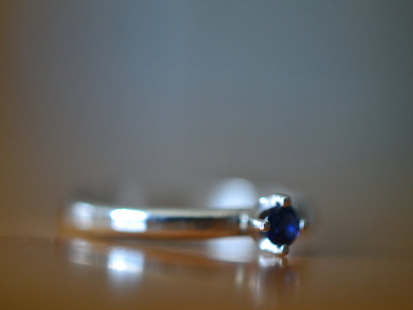 Dainty Blue Sapphire Ring in Sterling Silver