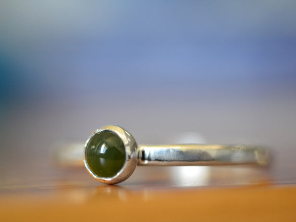Simple Sterling Silver & Nephrite Jade Stacking Ring
