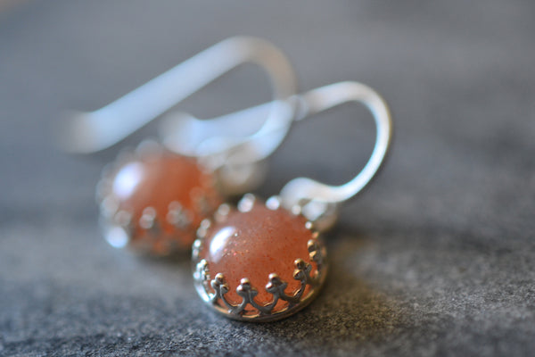 Handcrafted Natural Round Sunstone Dangle Earrings in Silver