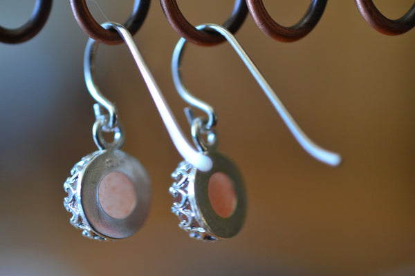 Natural Round Sunstone Crystal Earrings in Sterling Silver