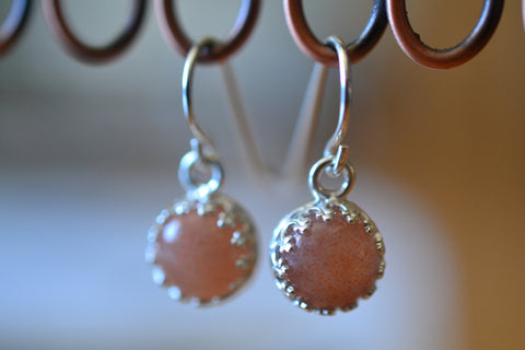 Handmade 8mm Natural Sunstone Cabochon Drop Earrings