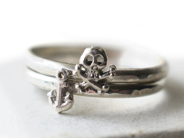 Silver Anchor, Skull & Crossbones Stacking Ring Set