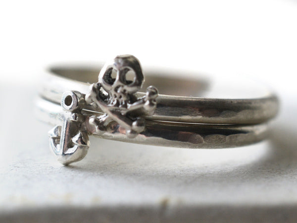 Pirate Anchor & Skull Stacking Ring Set in Sterling Silver