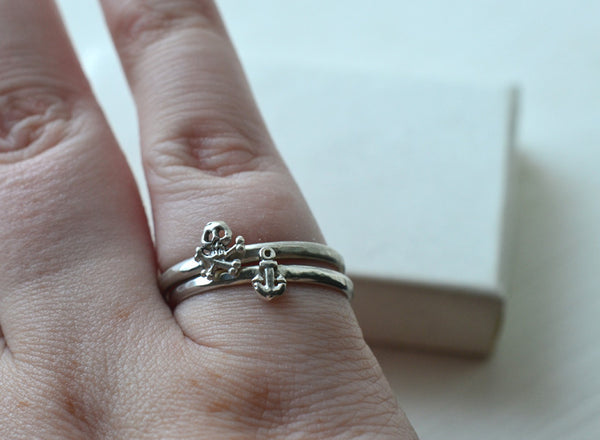 Pirate Charm Stacking Ring Set: Anchor, Skull & Crossbones
