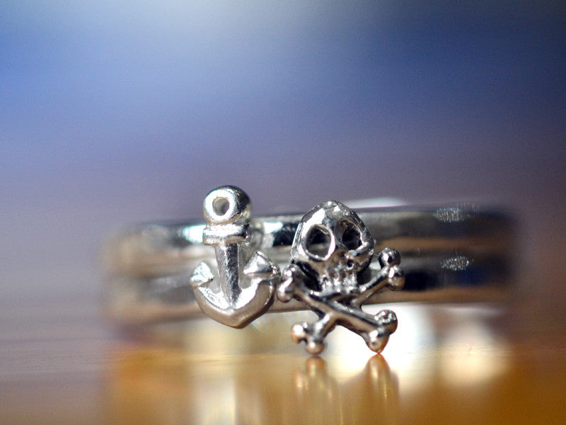 Tiny Silver Anchor & Skull Crossbones Charm Ring Set