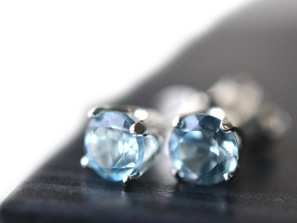 5mm Faceted Sky Blue Topaz Studs in Sterling Silver