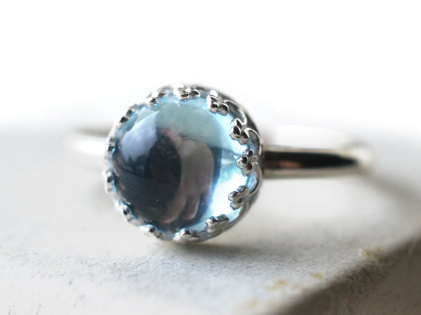 Simple Sky Blue Topaz Statement Ring In Sterling Silver