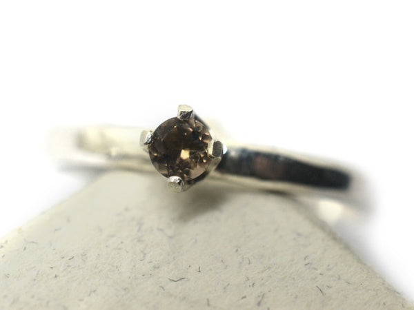 Sterling Silver & 3mm Smoky Quartz Dress Ring