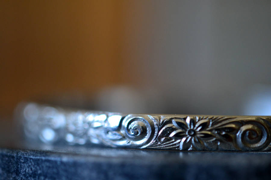 Solid Sterling Silver Flower & Swirl Boho Bangle Bracelet