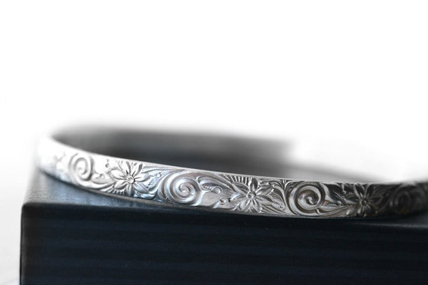 Handmade Sterling Silver Flower & Swirl Pattern Boho Bangle