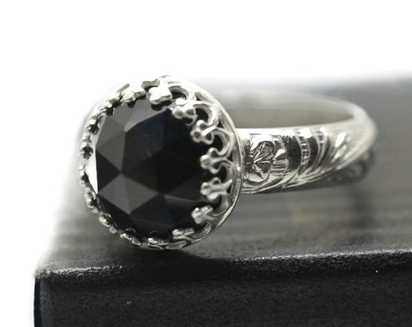 Handmade Floral Silver Black Spinel Engagement Ring
