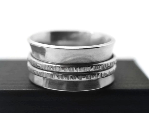 Handforged Sterling Silver Double Banded Meditation Fidget Ring