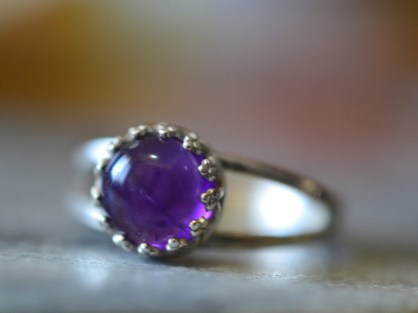 Natural Amethyst Statement Ring in Sterling Silver