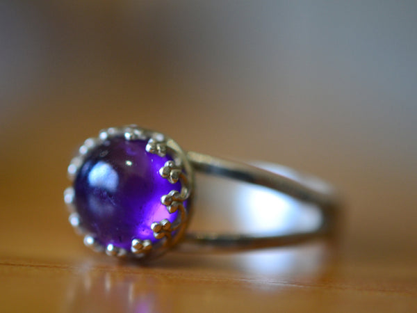 8mm Purple Amethyst Bezel Ring in Sterling Silver