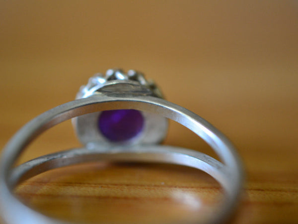 Natural 8mm Amethyst Split Band Ring in Sterling Silver