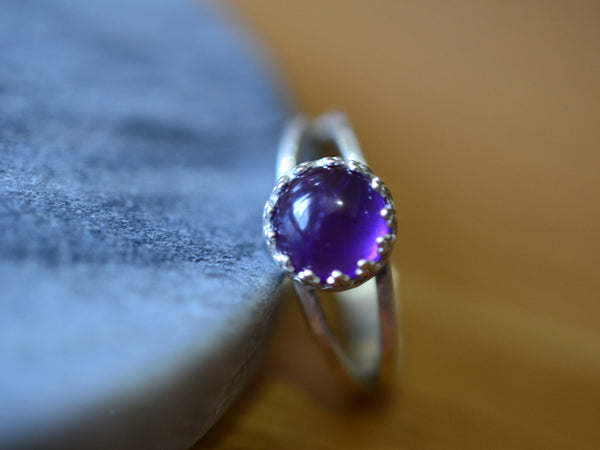 Women's Natural Amethyst Ring in Sterling Silver