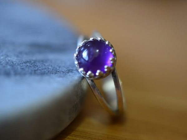 Sterling Silver Split Band Ring with 8mm Round Amethyst