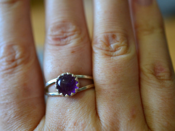 Split Band African Amethyst Statement Ring in Sterling Silver
