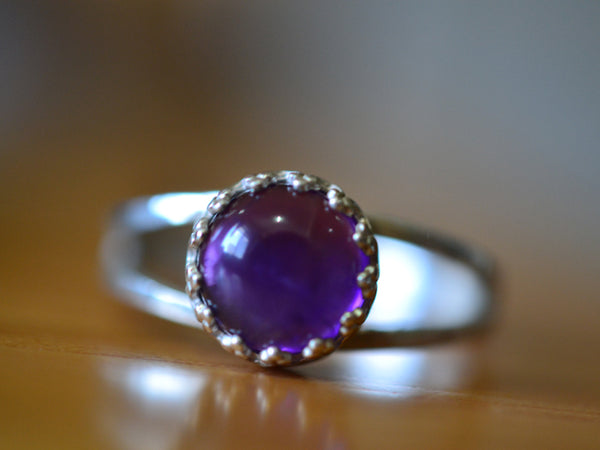 8mm Round African Amethyst Statement Ring with Split Band