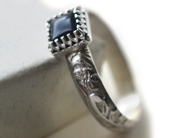 Square Black Onyx Statement Ring in Floral Sterling Silver