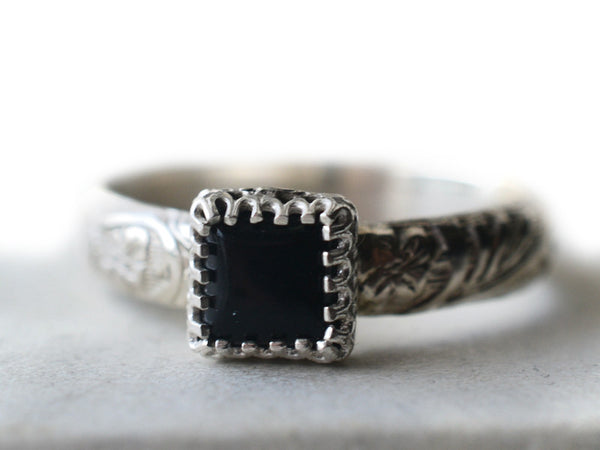 6mm Square Black Onyx Gemstone Ring in Floral Sterling Silver
