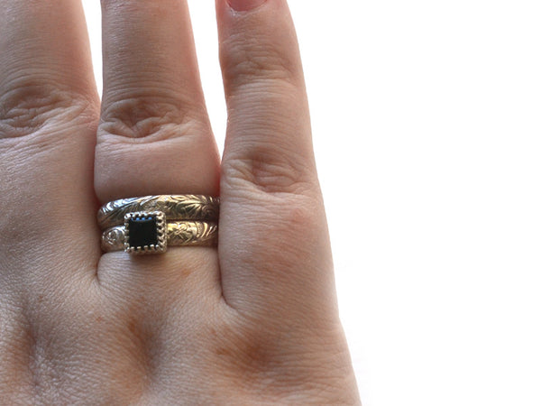 Handmade Women's Black Onyx Wedding Ring Set
