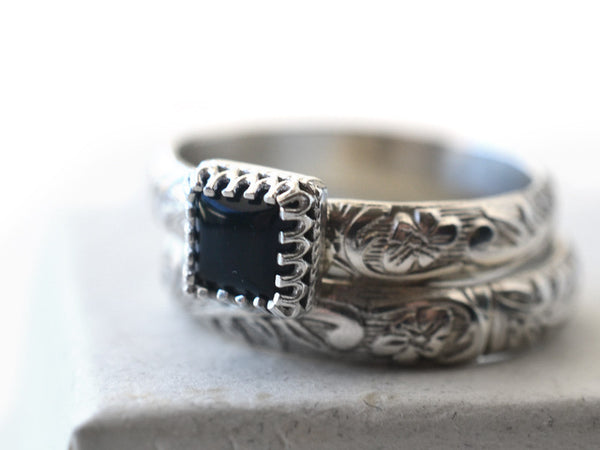 Handmade Unique Black Onyx Floral Silver Bridal Ring Set