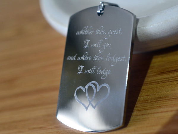 Stainless Steel Book of Ruth Commitment Dog Tag Necklace