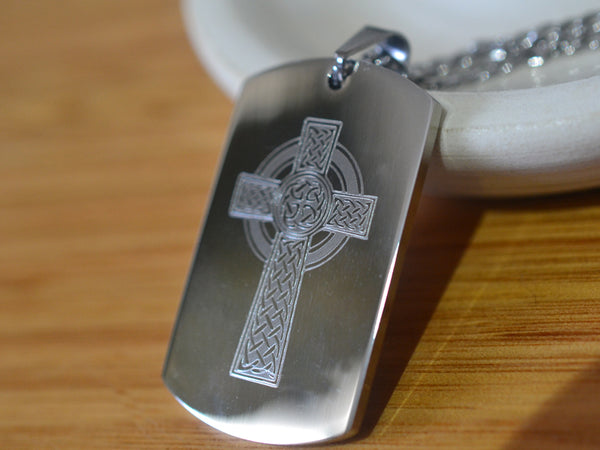 Stainless Steel Celtic Cross Dog Tag Necklace