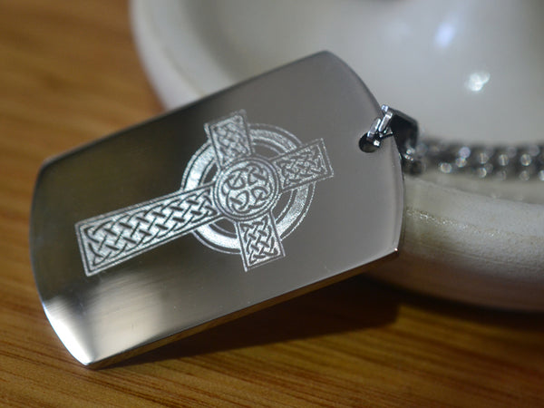 Stainless Steel Celtic Cross Dog Tag Necklace with Chain