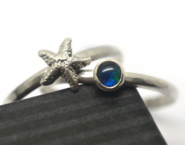 Handmade Silver Starfish and Blue Green Opal Stacking Ring Set
