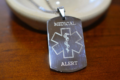 Custom Engraved Medical Dog Tag with Patient Info