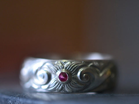 Men's Sterling Silver Dogwood Wedding Band with Inset Ruby