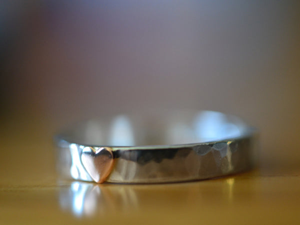 Sterling Silver Wedding Band with 14K Gold Heart