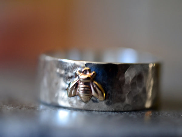 Sterling Silver & 14K Gold Bee Wedding Band