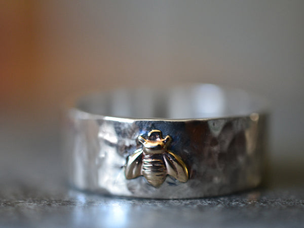 Custom Engraved Sterling Silver & 14K Gold Bee Ring