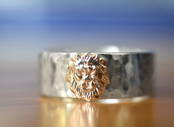 Handmade Sterling Silver & 14K Gold Lion Ring
