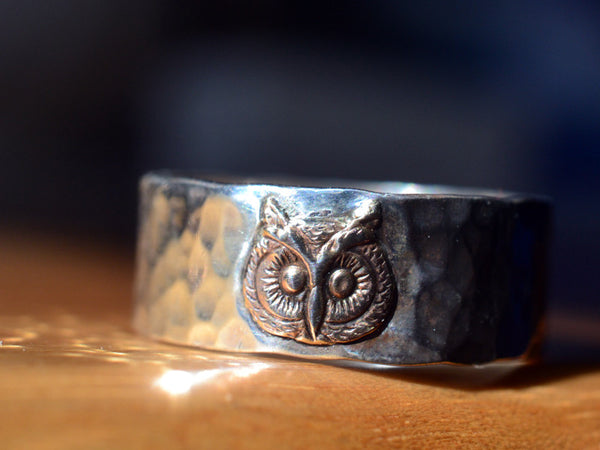 Handforged Sterling Silver & 14K Yellow Gold Owl Ring