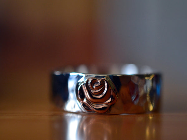 Custom Engraved Sterling Silver Wedding Band with 14K Gold Rose
