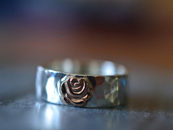 Sterling Silver & 14K Gold Rose Charm Wedding Band