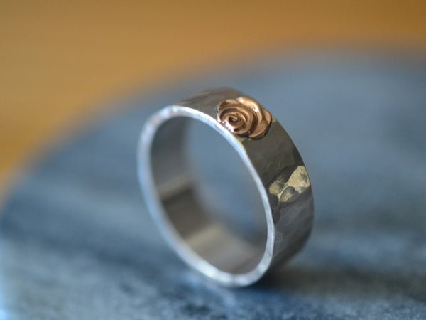 14K Pink Gold Rose Ring With Sterling Silver Band