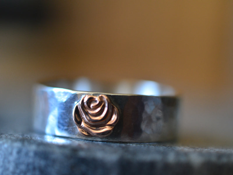 Sterling Silver Wedding Band with 14K Rose Gold Flower