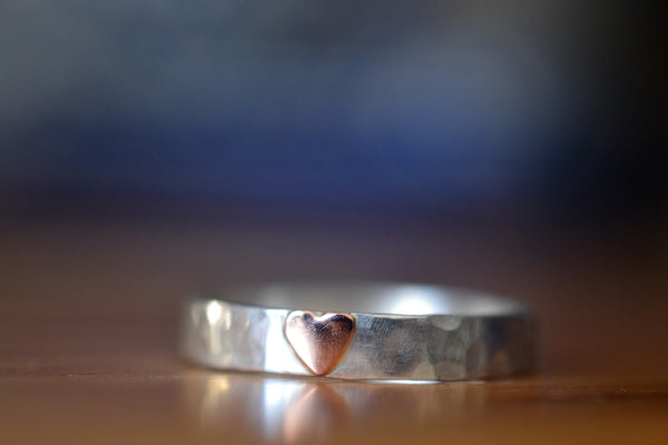Sterling Silver & 14ct Rose Gold Heart Ring