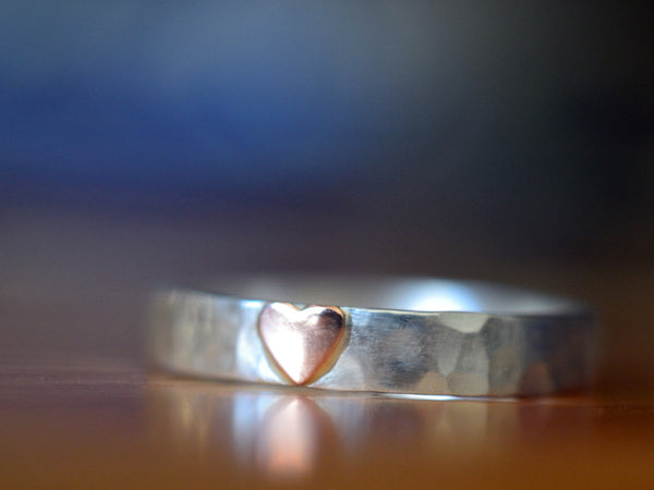 Sterling Silver & 14K Rose Gold Heart Ring