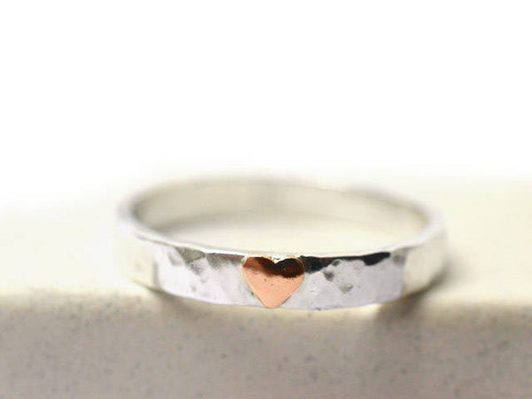 Handmade Sterling Silver & 14K Rose Gold Heart Ring