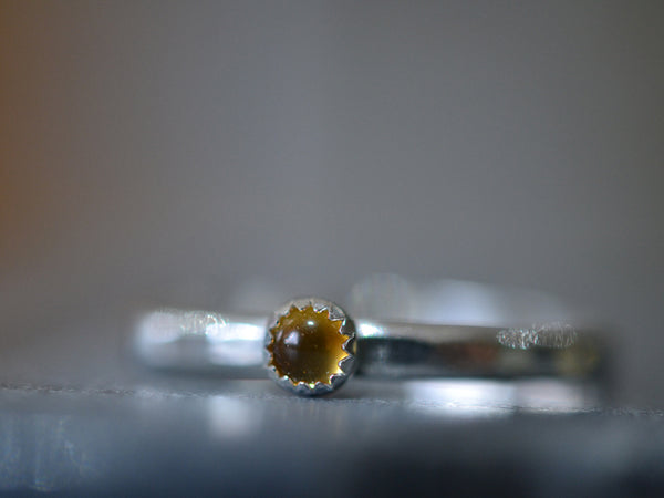 Dainty Citrine Stacking Ring in Sterling Silver